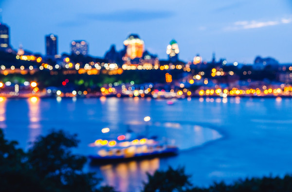 Out-of-focus shot of Quebec City, Canada