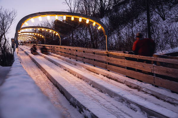 Toboggan ride in the heart of Old Quebec City