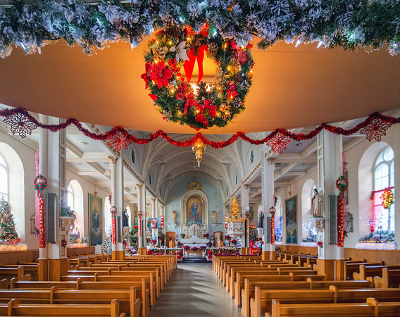Christmas decoration in Notre-Dame-de-la-Garde church, Cap-Blanc, Quebec City