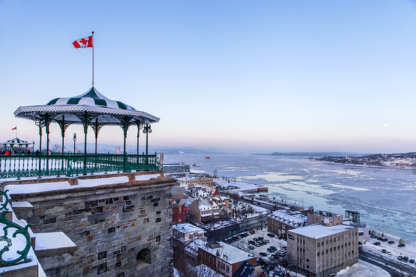 View on Quebec City's Lower Town and the Saint-Lawrence River from the Dufferin Terrace.