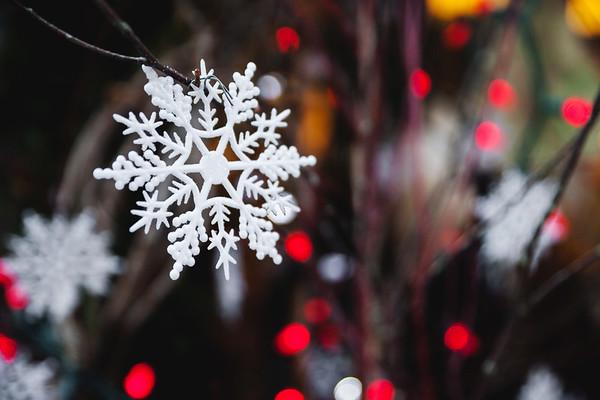 Snowflake decoration with red lights / Décoration en flocon de neige et lumières rouges