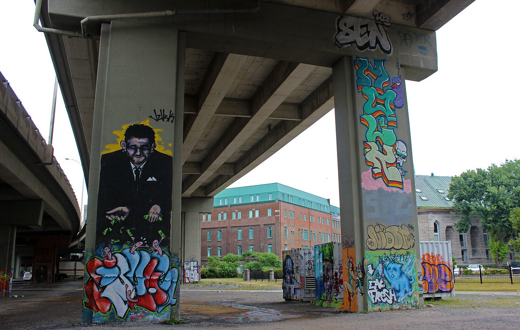 Street art in Quebec City - Highway overpass graffiti