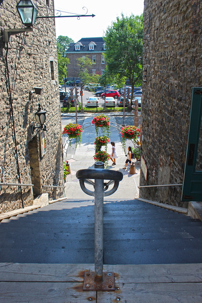 Narrow alleyways and staircases of Old Quebec