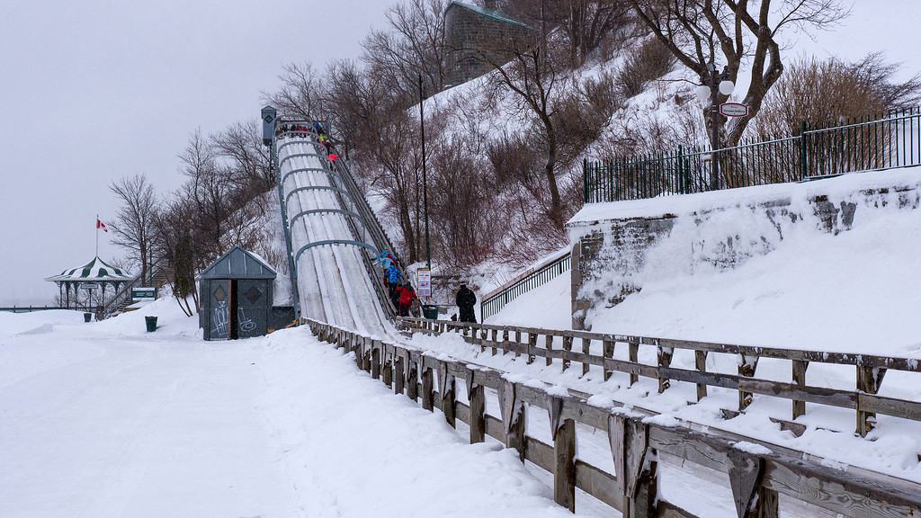 Quebec City Winter luge toboggan slide