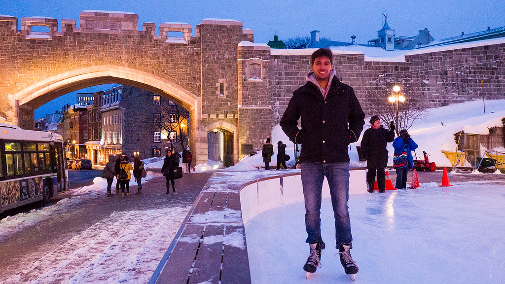 Ice skating in Quebec City - Place D'Youville by the fortifications