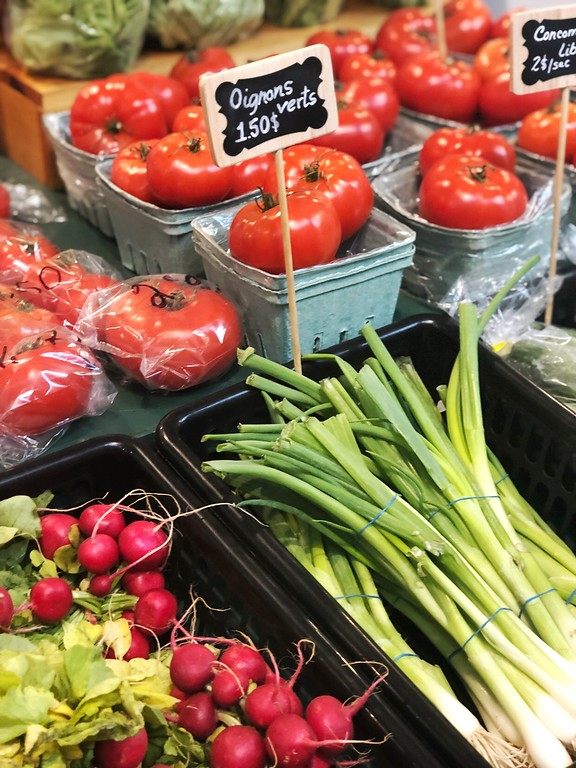 Fresh fruit and vegetables at Le Grand Marché in Quebec City.