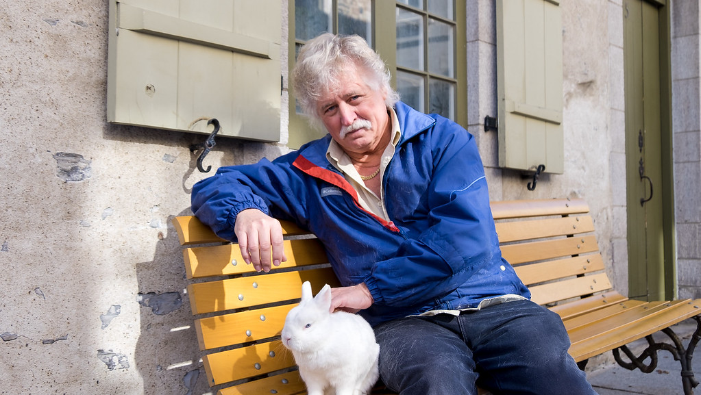 A local man and his pet bunny in Place-Royale, Quebec City