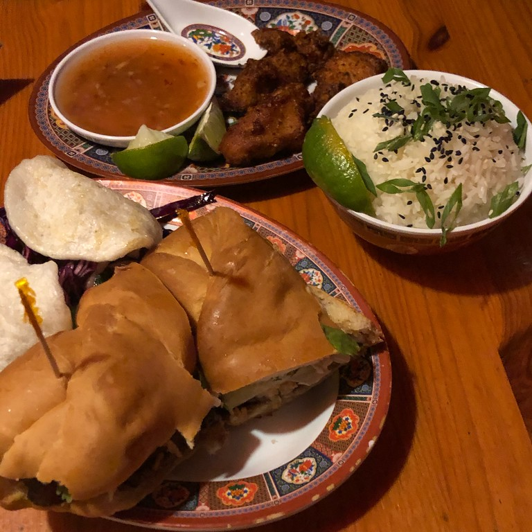 Banh mi and fried chicken at Chez Tao in Quebec City