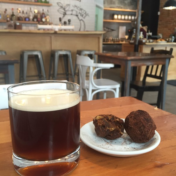 Cold brew coffee at Café Maelstrom in Saint-Roch, Quebec City