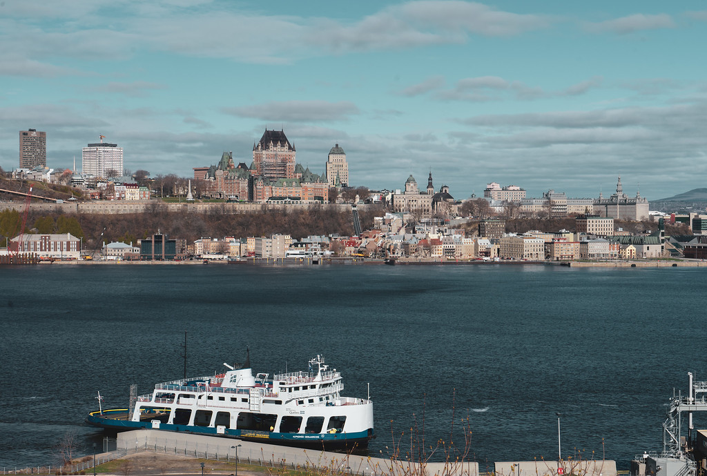 The ferry from Quebec City to Levis travelling across the Saint-Lawrence River in early spring.