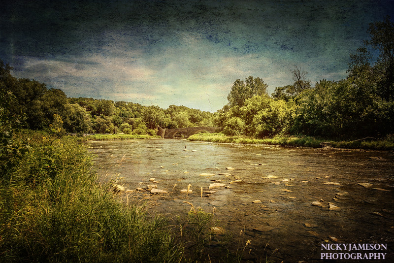 Beauty, rushing river, dreaming of rainstorms in summer and my painterly expression of the Humber at the Old Mill.It is interesting to see how different a place is from season to season. In spring the Humber is full and fishermen stand thigh deep in waders. A hot Toronto summer brings lower water levels, so low it would be easy to cross to the other side on foot. I hope there is more rain soon.