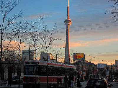 CN Tower From Chinatown, in Toronto Canada