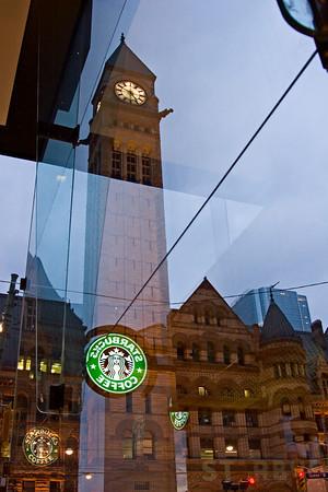 Starbucks Reflection near Toronto Old City Hall