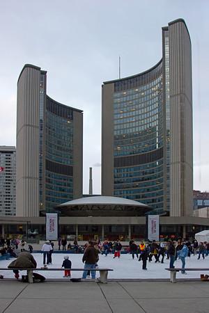 Skating near New Toronto City Hall