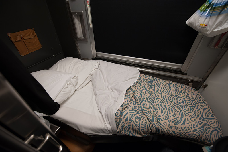My Room for the 3 1/2 day trip from Vancouver to Toronto.  The bed moves up revealing a seat.