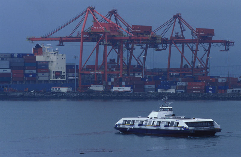 Seabus passes Centerm container terminal.