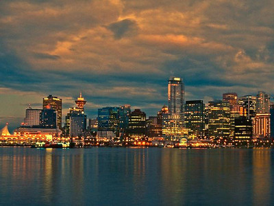 Vancouver BC Skyline in The Early Evening