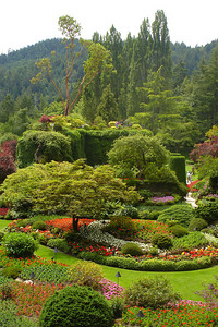 The Sunken Gardens at Butchart Gardens.  These gardens are located in an old quarry - Brentwood Bay, BC ... June 26, 2007 ... Photo by Rob Page III