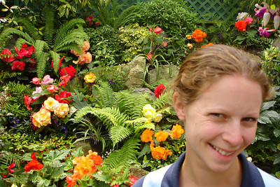 Emily and some of the flowers at Butchart Gardens - Brentwood Bay, BC ... June 26, 2007 ... Photo by Rob Page III