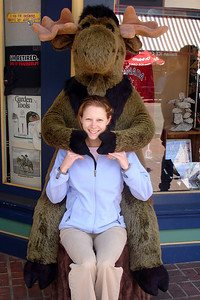The moose is giving Emily a hug - Victoria, BC ... June 25, 2007 ... Photo by Rob Page III