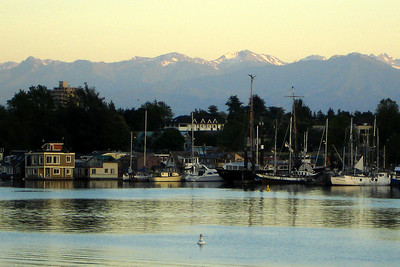 The harbour with the Olympic Mountains rising in the backgorund - Victoria, BC ... June 25, 2007 ... Photo by Rob Page III