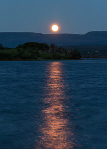Moonrise over the Codroy River, looking south toward the Long Range Mountains