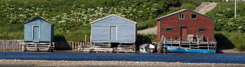 Boat houses in the community of Parson's Pond, north of Gros Morne National Park from a pull out along highway 430.