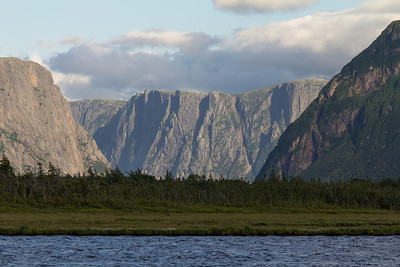 The entrance to the ancient fjord at Western Brook Pond in Gros Morne National Park.  No longer a true fjord, it was cut off from the ocean when the land rose at the end of the last ice age.  Those cliffs are about 2000ft/610m high.