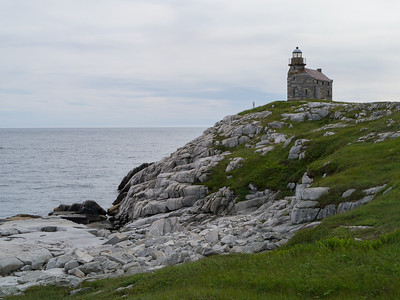 The newly reconstructed stone lighthouse at Rose Blanche.