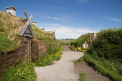 The Parks Canada reconstion of the Viking buildings using archaeological evidence both from L'Anse aux Meadows and Iceland.