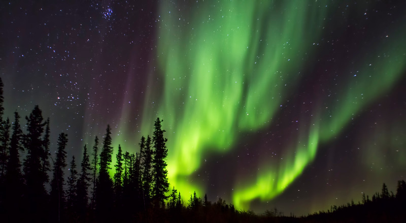 The Northern Llghts shine magically just outside of Yellowknife, NWT