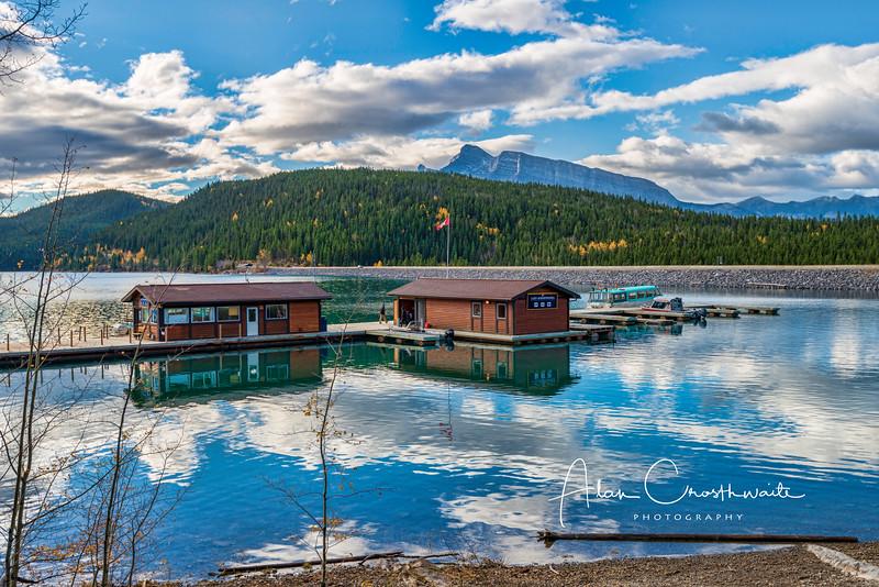 Boathouses at Lake Minniewanka, Canada.