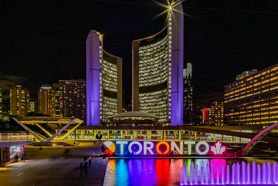 Toronto Canada City Hall and surrounding Hospitality district at night