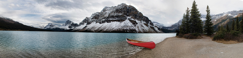 Bow Lake Panoramic with Canoe