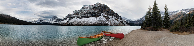 Bow Lake Panoramic with two canoes