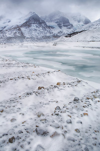 Mt Athabasca and frozen Sunwapta River, Banff National Park