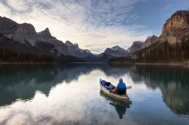 Paddling on Maligne Lake