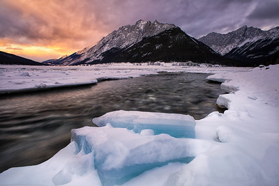 Winter sunset at Medicine Lake, Jasper National Park