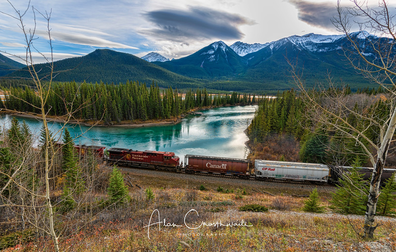 Train along river - Banff.