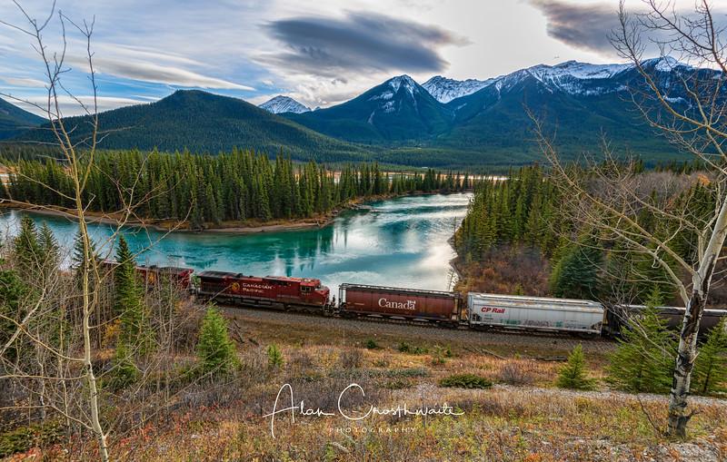 Train along river - Banff.