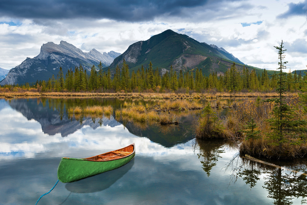 Green Canoe near Vermilion Lakes and Mount Rundle