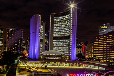 Close up Toronto City Hall at night