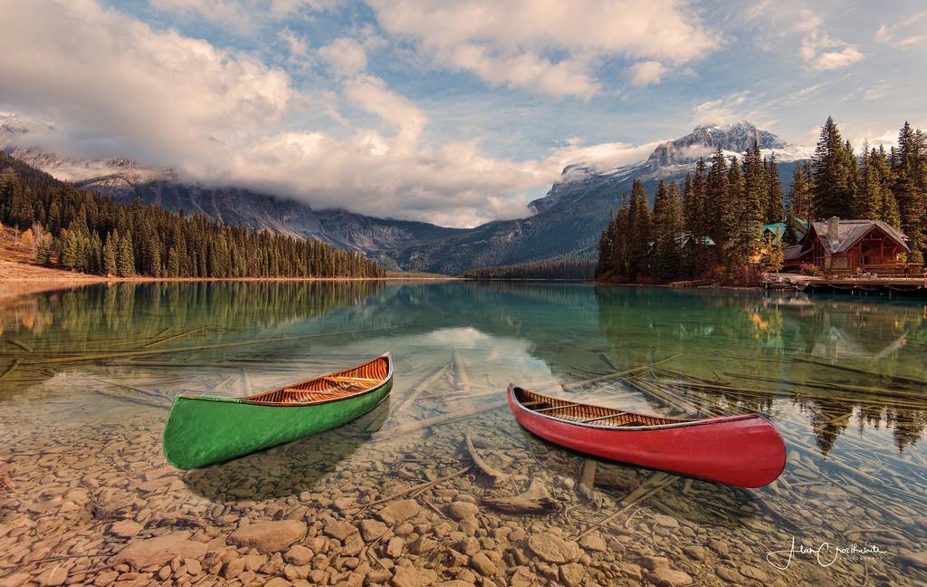 Two canoes on Emerald Lake