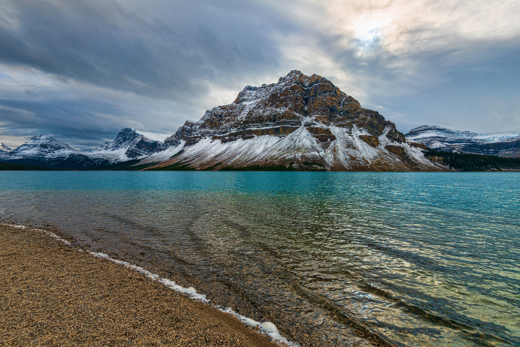 Turquoise waters at Bow Lake