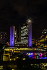 Close up Toronto Ontario Canada City Hall at night