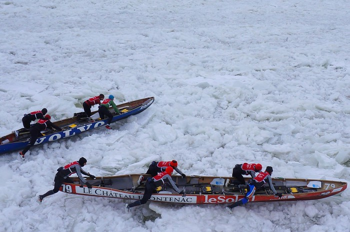 Ice canoe races on the frozen waters of the Saint Lawrence River