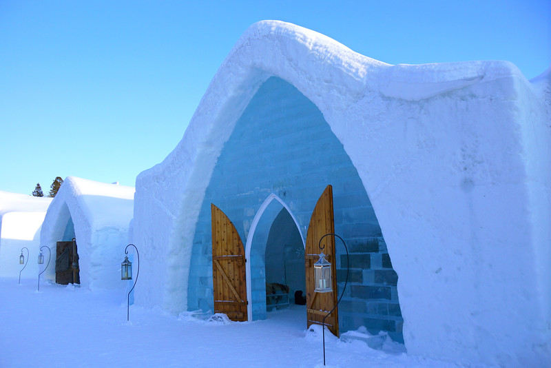 Visiting the Ice Hotel in Quebec City in winter.