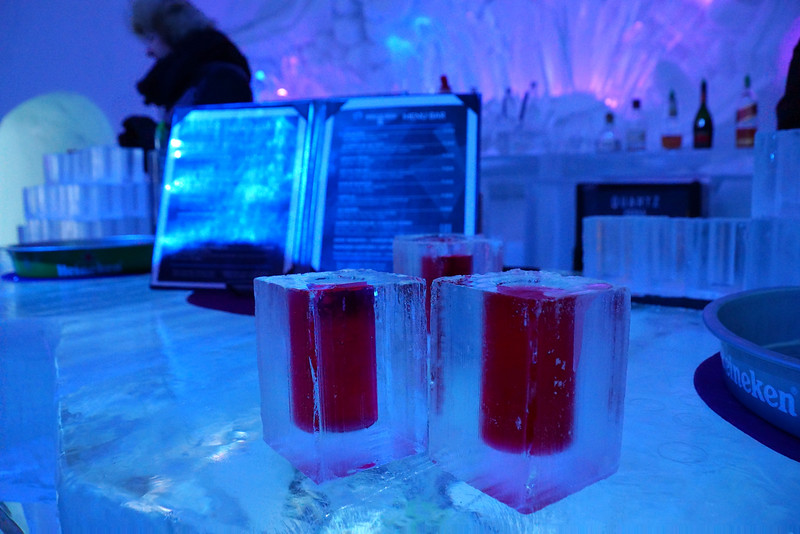 Drinks at the Ice Hotel Bar in Quebec City