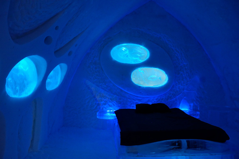 Room inside the Ice Hotel in Quebec City