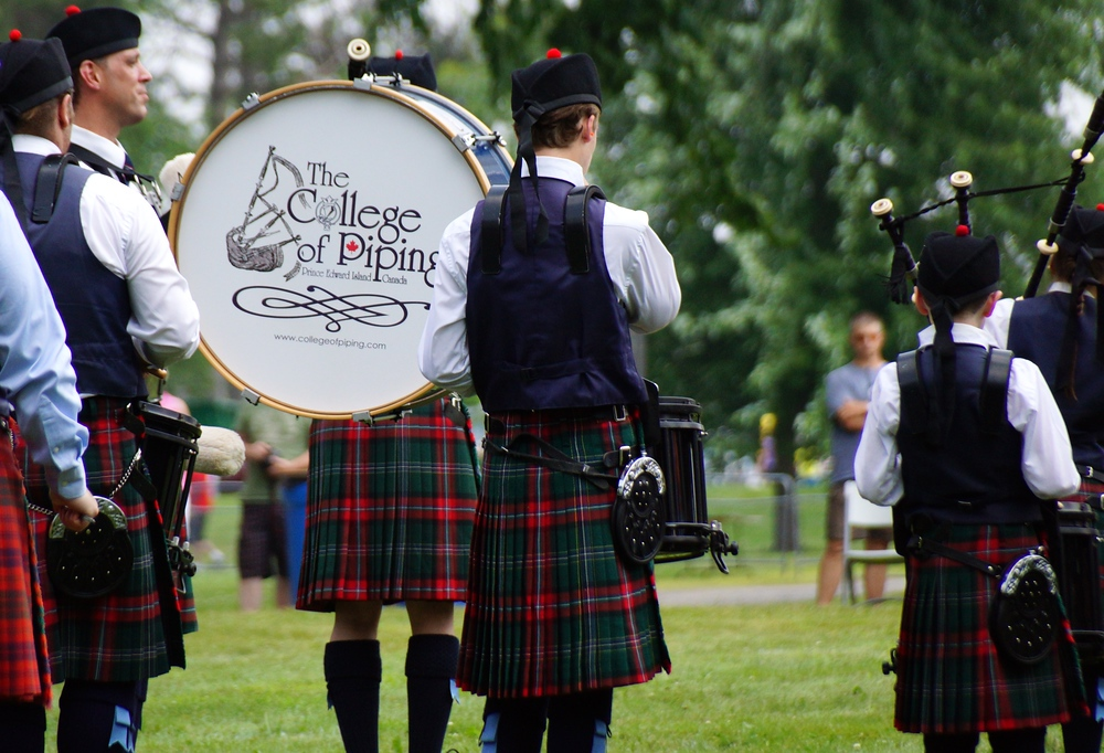 The College of Piping bagpipe and drum band from Prince Edward Island at the New Brunswick Highland Games
